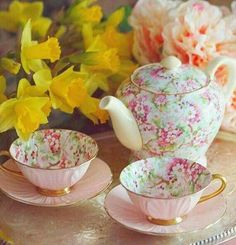 Two pink tea cups and tea pots with floral design. Get your lovely teaware. Two pink tea cups and tea pots with floral design. Get your lovely teaware. Pink Tea Cups, Tea Cup Set, My Cup Of Tea, Tea Cup Saucer, Tea Sets, Cuppa Tea, Best Tea, Tea Service, Coffee Set