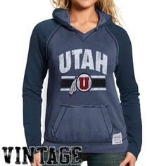 Original Retro Brand Utah Utes Ladies Charcoal - Navy Blue Two-Toned V-Neck Pullover Hoodie Sweatshirt - Ladies, spice up your life with some vintage style in the Two-Toned pullover hoodie from Original Retro Brand. With its arched school name and team logo printed on the chest, heathered body with a solid-colored hood and sleeves, and rough-hewn seams for a worn-in look, this sweatshirt will keep you lookin' mighty fine for Utah!