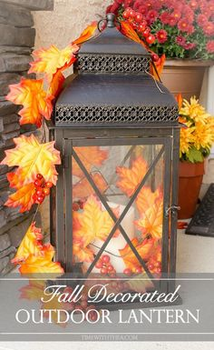 Turn A Basic Lantern Into A Gorgeous Outdoor Fall Decor Accessory