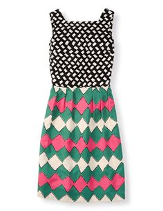So cute...love the mixed prints, bright colors and shape. Mixed Print Dress-Boden