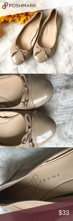 Ivanka Trump Leather Ballet Flats 7.5 Previously Loved Ivanka Trump Ballet Flats. Super cute with bows on toes. Real leather. Beige color makes this shoe a go to closet item! There are a few imperfections which can be seen in the photos listed. A few scratches on the Toe portion inside and out . Size 7.5 Ivanka Trump Shoes Flats & Loafers