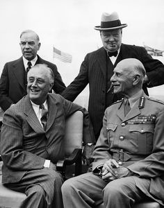 World War II. Seated, from left US President Franklin Delano Roosevelt, and British Major General Alexander Cambridge, Earl of Athlone. Standing, from left Canadian Prime Minister W.L. Mackenzie King, British Prime Minister Winston Churchill at the Second Quebec Conference, (codenamed OCTAGON), Quebec City, Canada, September 1944.
