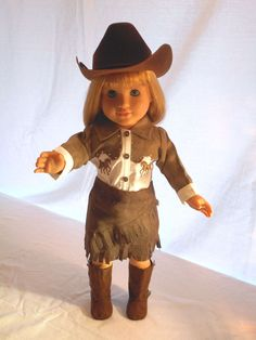 Brown & White 3-Pc. Cowgirl Ensemble Made To Fit 18 Inch American s Girl Dolls  #ManufacturedProduct