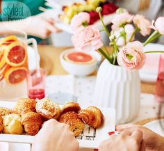 """As for the bites, Morgan says, """"I'm all for fresh fruit and finger foods that allow the host to enjoy the party as much as the guests do. For something hot, a quiche or frittata is easy to make a day ahead and pop in the oven before the party starts."""" 
