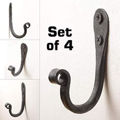 Wrought Iron J Hooks - Set of 4 - Hand Forged Rustic Blacksmith Projects, Forging Metal, Knife Making, Blacksmithing, Wall Hooks, Wrought Iron, Metal Art, Knives, I Shop