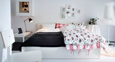 17 Nice IKEA Bedroom Designs To Inspire You : Astonishing White Based IKEA Bedroom Design with Large Frame Bed and White Simple Chair also P...