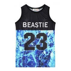 Beastie 23 Print Sports Style Tanks ($10) ❤ liked on Polyvore featuring tops, sports tank tops, blue top, sports tank, sports tops and print tank top