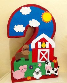 Piñata de numero granja. Piñata de granja. Piñata de granjita. | Etsy