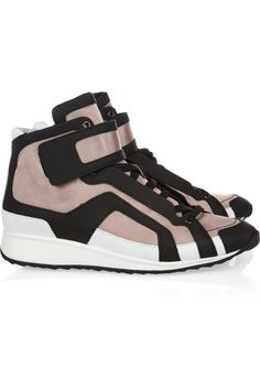 Pierre Hardy | Leather-trimmed canvas high-top sneakers | NET-A-PORTER.COM