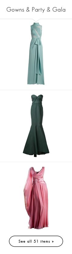 """Gowns & Party & Gala"" by montse-gallardo ❤ liked on Polyvore featuring dresses, gowns, gown, elie saab, long dresses, light green, floral evening gown, floral ball gown, green evening gown and floral gown"
