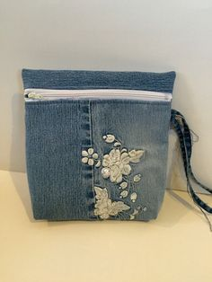 Recycled Blue Jean Wristlet by jeanoligy on Etsy