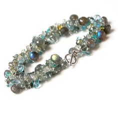 Moss Aquamarine, Labradorite and Blue Topaz Bracelet