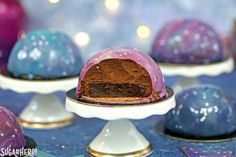 Galaxy Mousse Cakes with Mirror Glaze   From SugarHero.com