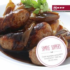 Give your bangers & mash an Irish twist with thick and delicious Guinness gravy. Fry onions in butter & add a pinch of cornflour. Add 250ml beef stock & 125ml Guinness. Reduce and serve. #SimpleSuppers  Cook sausages using NEFF CircoTherm 190C. By placing a grid over the universal pan, there's no need to turn over. Cook for 20-25 mins.