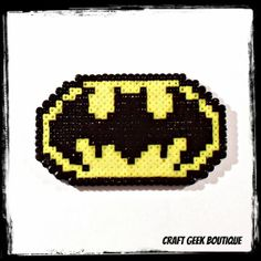 8 Bit Batman Logo Sprite Hama Perler Bead by CraftGeekBoutique, £2.80