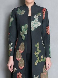 Buy Online Buy Black Green Brocade Applique & Block Printed Reversible Jacket Cotton Silk Apparel Jackets Imperious Brocades Handmade and Kurta Designs, Blouse Designs, Dress Designs, African Fashion Dresses, Indian Fashion, Look Fashion, Fashion Outfits, Fashion Design, Fashion Clothes