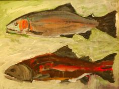 Two Salmon by Johnny DeFeo - Two salmon depicts two stages in the life cycle of the. Fish Art, Buy Art, Salmon, Original Art, Artwork, Fun, Stuff To Buy, Painting, Animals