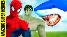 Spiderman & Hulk Amazing Fishing Video   Spiderman Vs Shark Fight   Dino...
