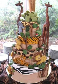 Baby shower safari cake Elizabeth, I vote that Shanon makes this for Kathryn if it is a boy! Jungle Safari Cake, Safari Birthday Cakes, Safari Baby Shower Cake, Safari Cakes, Baby Shower Cakes, Baby Boy Shower, Jungle Party Favors, Safari Party, Safari Theme