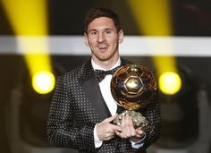 Messi of Argentina FIFA World Player of the Year 2012 holds his FIFA Ballon d'Or trophy during the FIFA Ballon d'Or 2012; arguably the best footballer to date