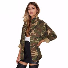 Camouflage Color Loose Women Outwear Jacket