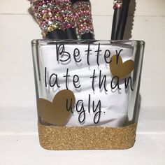 Glitter dipped makeup brush holder  better late by LoveWhimsyArt