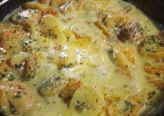 Pollo al verdeo con papas españolas