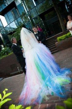 Stylish Rainbow Colored Wedding Dresses Wedding Gown Lace Up Bridal Dress 2015 | eBay