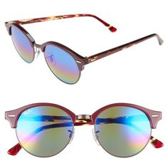 Women's Ray-Ban Clubround 51Mm Mirrored Rainbow Round Sunglasses (605 BRL) ❤ liked on Polyvore featuring accessories, eyewear, sunglasses, red rainbow, round frame glasses, rainbow sunglasses, rainbow mirrored sunglasses, mirror lens sunglasses and red lens sunglasses