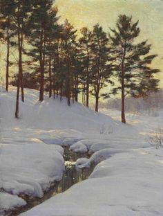 Walter Launt Palmer (1854-1932), Sun Behind the Pines.