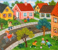 Anemone Street by Inge Selmer, size: Painting matierial: Acrylic on canvas Illustrations, Illustration Art, Primitive Painting, Kids Room Paint, Art Populaire, Tropical Art, Naive Art, Artist Gallery, Free Online Jigsaw Puzzles