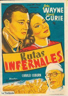 Rutas Infernales - Programa de Cine - John Wayne -Sigrid Gurie John Wayne, Vintage Posters, Movies, Movie Posters, Movie Theater, Old Books, Brochures, Trading Cards, Paths
