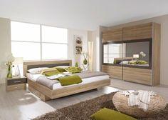 Schlafzimmer mit Bett 180 x 200 cm Eiche Sonoma  lavagrau Woody 54ed26d3d550