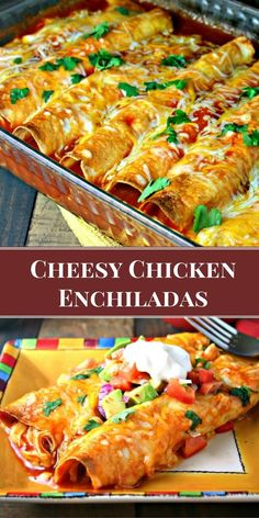 My favorite enchilada recipe! Loaded with chicken and cheese these EASY Cheesy Chicken Enchiladas bake up with a little crunch.My favorite enchilada recipe! Loaded with chicken and cheese these EASY Cheesy Chicken Enchiladas bake up with a little crunch. Chicken Enchilada Bake, Cheesy Chicken Enchiladas, Rotisserie Chicken Enchiladas, Enchiladas Healthy, Red Enchiladas, Flour Tortilla Enchiladas, Chicken Casserole, How To Make Enchiladas, Homemade Enchilada Sauce