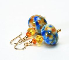 Blue and Orange Lampwork Glass Earrings on Gold Filled Earwires - Blue Yellow and Gold Earrings (25.00 USD) by lilicharms