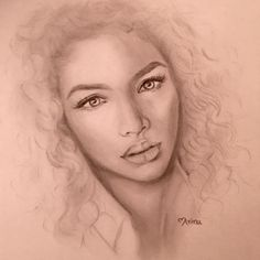 Pencil portrait graphite pencil drawing curls beautiful woman