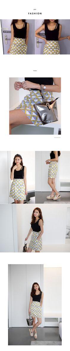 リネン素材ダイヤプリントミニスカート・全2色