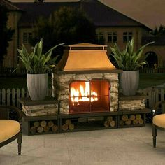 34 Admirable Outdoor Fireplace With Patio Design Ideas - During the Fall season and the cooler months of the year, people start to look for ways to extend the use of there outdoor living area. Most people do. Outdoor Wood Burning Fireplace, Outdoor Fireplace Designs, Backyard Fireplace, Outdoor Fireplaces, Fireplace Ideas, Modern Outdoor Fireplace, Porch Fireplace, Gas Fireplaces, Fireplace Cover