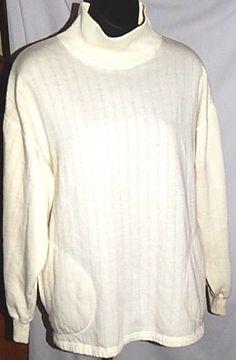Jennifer Moore Knit Ribbed Top Ivory Mock Turtleneck Cotton Blend Size Medium  #JenniferMoore #mockturtleneck #Casual