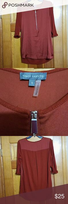 "Vince Camuto Mixed Media Shirt Vince Camuto Mixed Media Shirt  Burnt Orange / Red Size S Silver zipper at neckline               Measurements are approx: pit to pit 20"" front shoulder to hem 28.5 mid-neck to hem (longest part) 30"" sleeves 10""                 Material: photo 😀 Vince Camuto Tops"