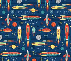 Vintage Toy Rockets fabric by lisakubenez on Spoonflower - custom fabric Toy Rocket, Retro Rocket, Textile Pattern Design, Fabric Design, Cosmos, Rocket Design, Kids Prints, Baby Prints, Mid Century Art