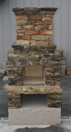 Stone Age Manufacturing Veranda Outdoor Fireplace Kit with Arched Lintel Rustic Outdoor Fireplaces, Outdoor Wood Burning Fireplace, Outdoor Fireplace Kits, Outside Fireplace, Fireplace Tool Set, Small Fireplace, Fireplace Inserts, Electric Fireplaces, Backyard Fireplace