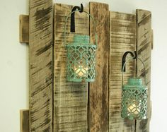 Pallet wall decor with Vintage Style Milk Bottles shabby chic