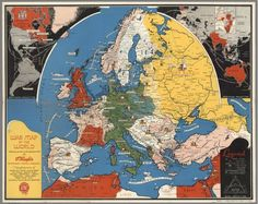 War Map of Europe in the World (1942) #cartography