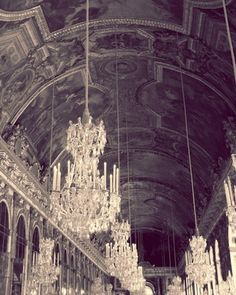 """Le Chandelier-8""""x10"""" Fine Art Photograph. Lusterous Luxury. Glittering chandlier lights twinkling against the long hall of mirrors. France.. $16.50, via Etsy."""