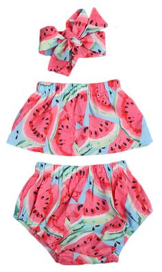 Baby Girl Watermelon Off Shoulder Lotus Ruffle Romper+Short Pants+Headband Outfit Baby Outfits, Cute Teen Outfits, Girls Summer Outfits, Outfits For Teens, Baby Dresses, Watermelon Outfit, Watermelon Baby, Baby Girl Fashion, Toddler Fashion