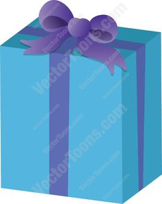 Gift wrapped in blue paper with purple ribbon #birthday #bow #box #christmas #gift #giftwrap #present #ribbon #wrapped #xmas