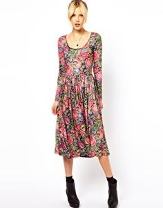 ASOS Midi Dress In Tapestry Style Print.