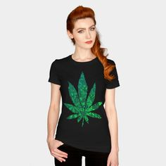 Green Mandala Cannabis Leaf T Shirt By ZeichenbloQ Design By Humans Ringer Tee, V Neck T Shirt, Mandala, Pullover, Group, Tees, Long Sleeve, Board, Tee Shirts