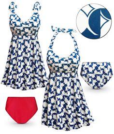 Customizable Marina Print Halter or Shoulder Strap 2pc Plus Size Swimsuit/SwimDress 0x to 9x
